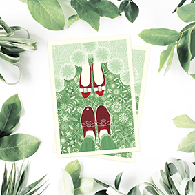 Atvirlaiškis Jaunieji Lietuva Lithuania Postcard card print pattern floral botanic decorative etsy green garden sodas flowers shoes batai kojos atvirukas engagement vestuves wedding suzadetuves green zalia