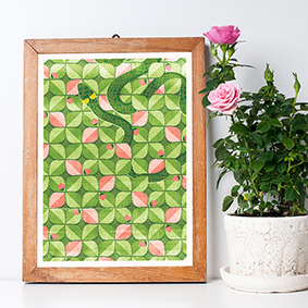 Plakatas Art Print Green Green Žalia pattern kaštonai kavinė žemuogės gyvatė rojus nuodemė žemuogynas strawberry field pattern botanic snake heaven mythology mitologija biblical sin žaltys Lithuania