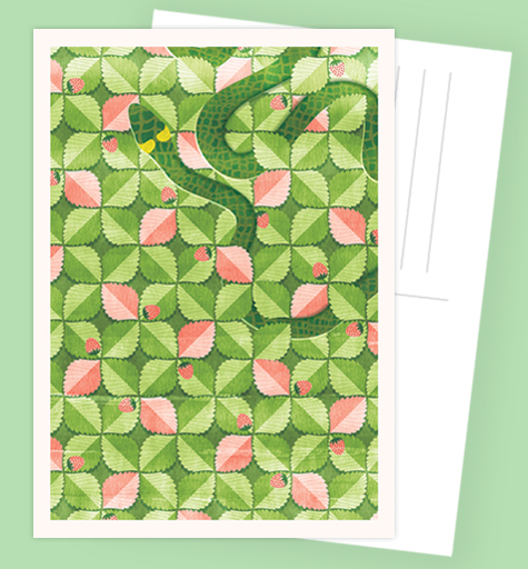 Atvirlaiškis Atvirukas Pattern Postcard Print Green Green Žalia pattern kaštonai kavinė žemuogės gyvatė rojus nuodemė žemuogynas strawberry field pattern botanic snake heaven mythology mitologija biblical sin žaltys Lithuania